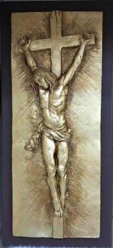 crocifissione bassorilevo foglia oro