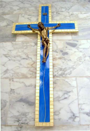 crocifisso blu e oro